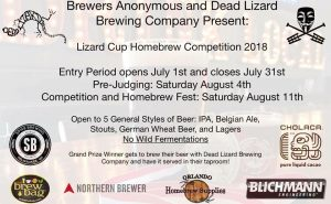Lizard Cup 2018 Homebrew Competition @ Dead Lizard Brewing Company