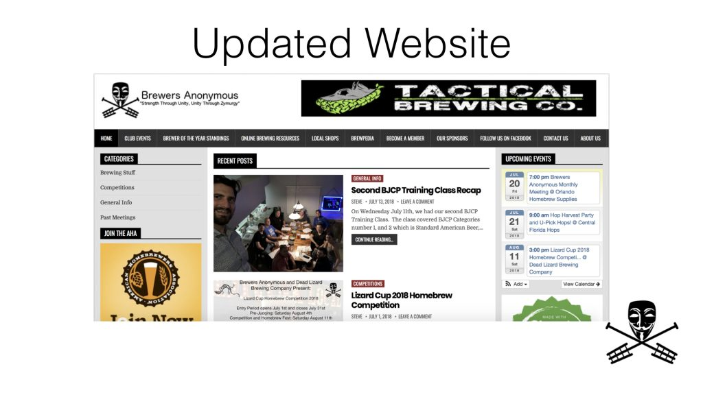 New Brewers Anonymous Homebrew Club Website