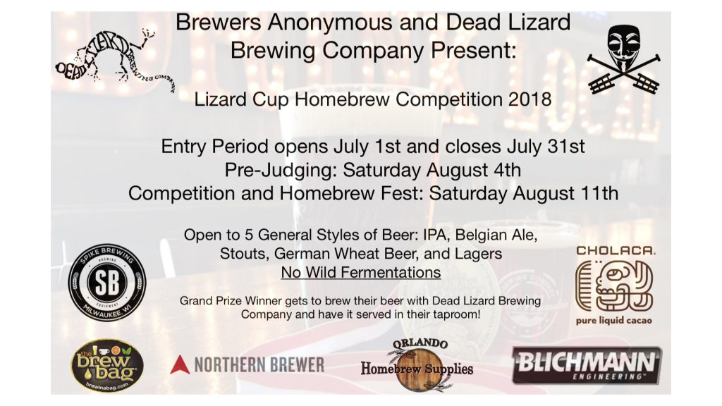Lizard Cup 2018 Homebrew Competition and Festival