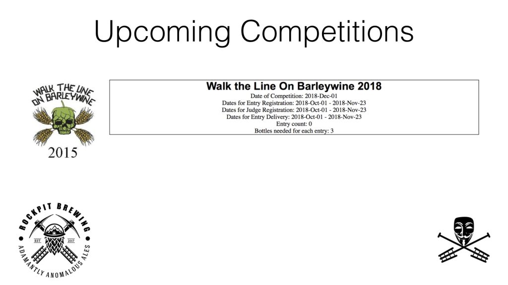Walk the Line of Barleywine Competition
