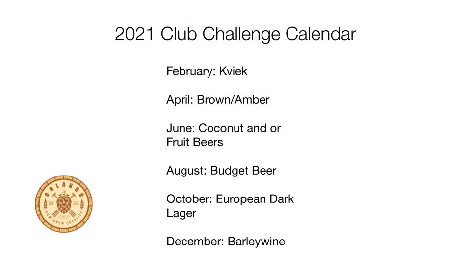 2021 Club Challenge Calendar